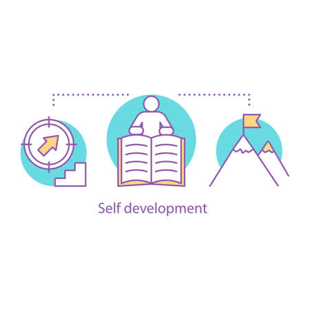 Self development concept icon. Personal growth idea thin line illustration. Goal achieving. Vector isolated outline drawing