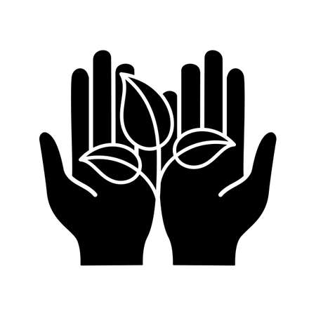 Greening glyph icon. Silhouette symbol. Environment protection. Open hand with sprout. Agriculture. Negative space. Vector isolated illustration