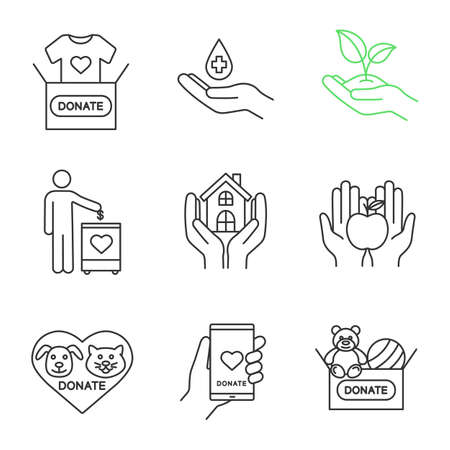 Charity linear icons set. Thin line contour symbols. Blood, toys, clothes, food donation, greening, fundraising, shelter for homeless, animals welfare. Isolated vector outline illustrations