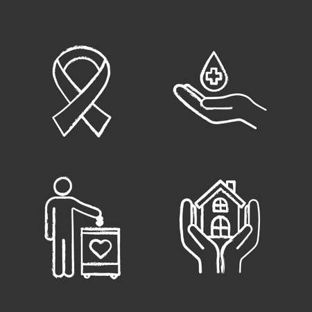 Charity chalk icons set. Fundraising, anti HIV ribbon, blood donation, shelter for homeless. Isolated vector chalkboard illustrations