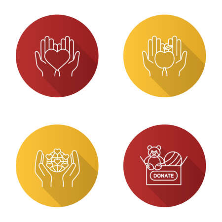 Charity flat linear long shadow icons set. Food and toys donation, international charity, hands holding heart. Vector outline illustration