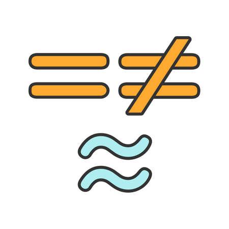 Icono de color de símbolos matemáticos. Igual, no es y aproximadamente igual a los signos. Ilustración de vector aislado