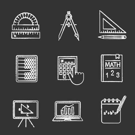 Conjunto de iconos de tiza de matemáticas. Geometría y álgebra. Herramientas de dibujo, libro de texto, ábaco, calculadora. Ilustraciones de pizarra vector aislado Ilustración de vector