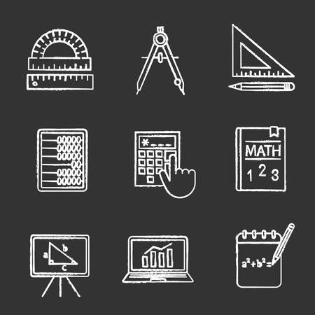 Mathematics chalk icons set. Geometry and algebra. Drafting tools, textbook, abacus, calculator. Isolated vector chalkboard illustrations