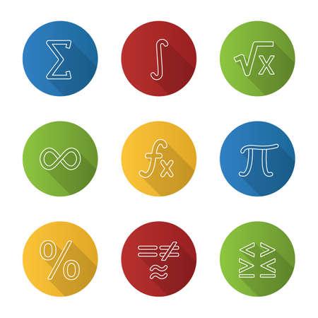 Mathematics flat linear long shadow icons set. Math symbols. Algebra. Vector outline illustration Ilustração