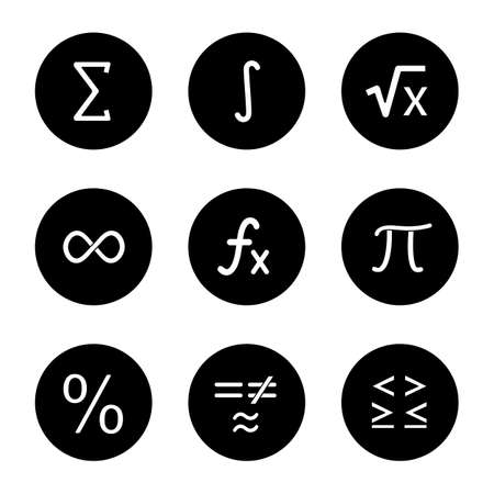 Mathematics glyph icons set. Math symbols. Algebra. Vector white silhouettes illustrations in black circles