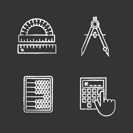 Ensemble d'icônes de craie de mathématiques. Rapporteur, règle, boussole de dessin, boulier, calculatrice. Illustrations de tableau de vecteur isolé