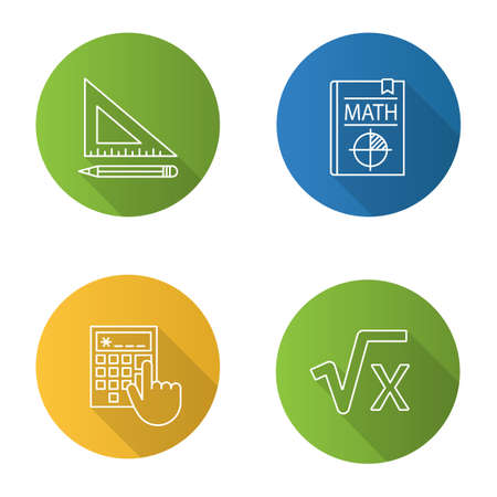 Mathematics flat linear long shadow icons set. Triangular ruler and pencil, math textbook, calculator, square root of x. Vector outline illustration Vettoriali