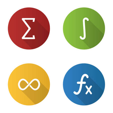 Mathematics flat design long shadow glyph icons set. Sigma, integral, infinity sign, function. Vector silhouette illustration