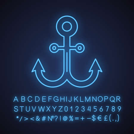 Anchor neon light icon. Glowing sign with alphabet, numbers and symbols. Vector isolated illustration