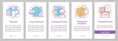 House building onboarding mobile app page screen with concepts. Construction, wiring and plumbing, painting and decoration steps graphic instructions. UX, UI, GUI vector template with illustrations