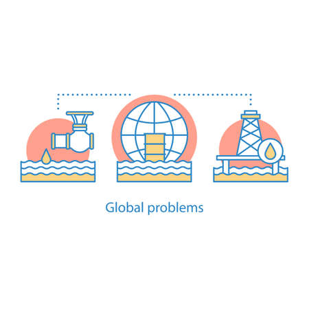 Global problems concept icon. Oil industry. Waste contamination idea thin line illustration. Water pollution. Vector isolated outline drawing
