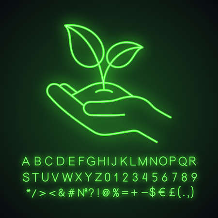 Greening neon light icon. Agriculture glowing sign. Environment protection. Open hand with sprout. Vector isolated illustration