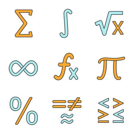 Mathematics Color Icons Set Math Symbols Algebra Isolated