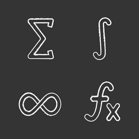 Conjunto de iconos de tiza de matemáticas. Sigma, integral, signo de infinito, función. Ilustraciones de pizarra vector aislado