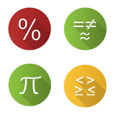 Mathematics flat design long shadow glyph icons set. Pi, percent, equality and inequalities signs. Vector silhouette illustration