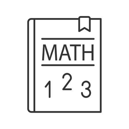 Math textbook linear icon. Mathematics book. Thin line illustration. Elementary math. Contour symbol. Vector isolated outline drawing