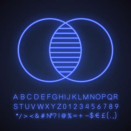 Merging neon light icon. Integration abstract metaphor. Glowing sign with alphabet, numbers and symbols. Vector isolated illustration