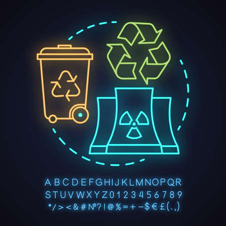 Waste recycling neon light concept icon. Environment protection idea. Garbage reusing. Glowing sign with alphabet, numbers and symbols. Vector isolated illustration