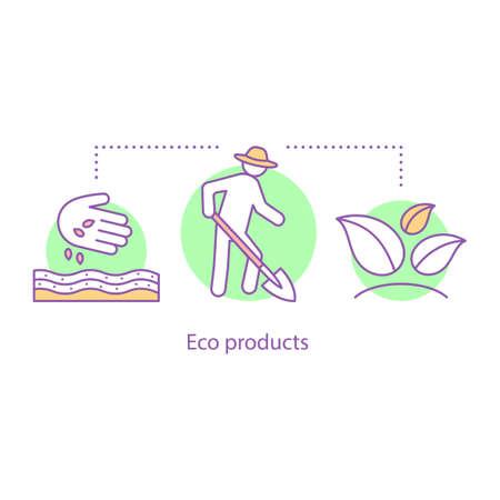 Icono del concepto de agricultura. Siembra. Productos ecológicos. Ilustración de línea fina de idea de agricultura. Trabajo de campo de primavera. Dibujo de contorno aislado del vector