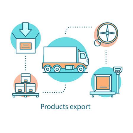 Icono de concepto de exportación de productos. Logística y distribución. Ilustración de línea fina de idea de servicio de entrega. Transporte de carga. Envío de carga. Dibujo de contorno aislado del vector