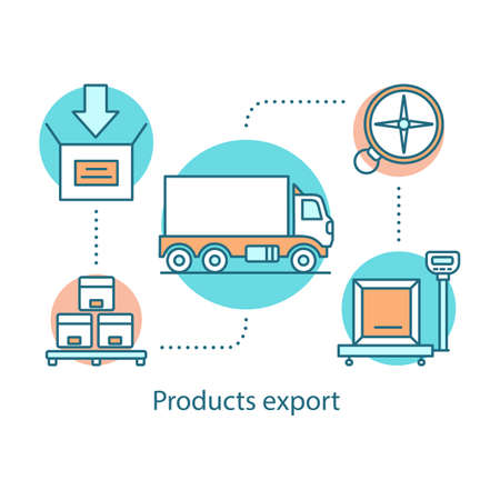 Products export concept icon. Logistics and distribution. Delivery service idea thin line illustration. Freight transportation. Cargo shipping. Vector isolated outline drawing 矢量图像