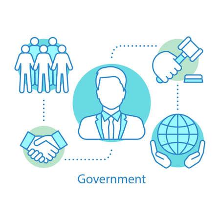 Icône de concept de gouvernement. Politique. Illustration de fine ligne d'idée de système politique. Relations internationales. Dessin de contour isolé de vecteur