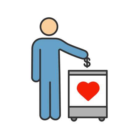 Icône de couleur de boîte de don. Tirelire. Collecte de fonds. Donnez de l'argent à des œuvres caritatives. Personne laissant tomber une pièce d'un dollar dans une boîte de don. Illustration vectorielle isolé