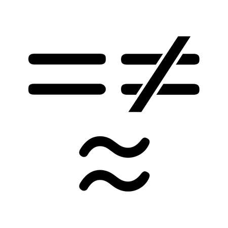 Math Symbols Glyph Icon Equals Is Not And Approximately Equal