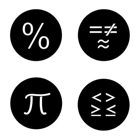 Mathematics glyph icons set. Pi, percent, equality and inequalities signs. Vector white silhouettes illustrations in black circles