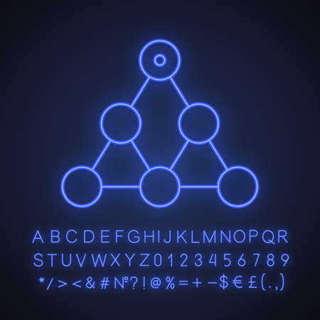 Hierarchy neon light icon. Team building and structure concept. Glowing sign with alphabet, numbers and symbols. Vector isolated illustration