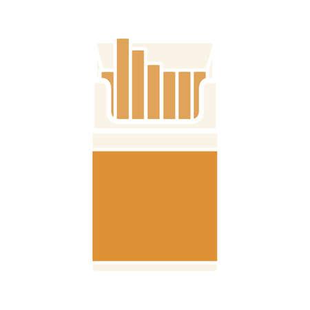Öffnen Sie das Glyphen-Farbsymbol der Zigarettenschachtel. Schattenbildsymbol auf weißem Hintergrund ohne Umriss. Negativer Raum. Vektorillustration