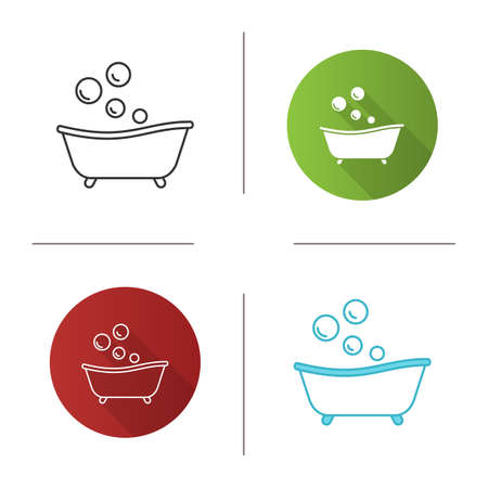 Baby bathtub icon. Taking bath. Flat design, linear and color styles. Isolated vector illustrations 矢量图像