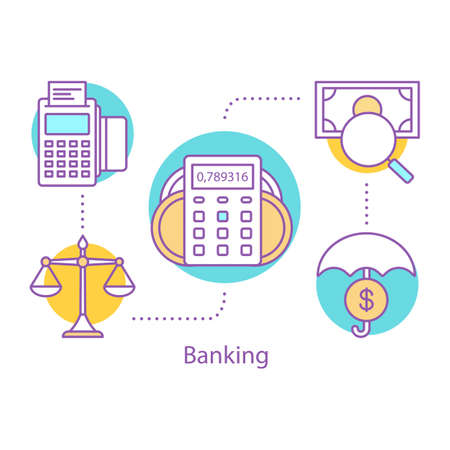 Banking concept icon. Saving money idea thin line illustration. Safe investment. Percent calculator. Vector isolated outline drawing