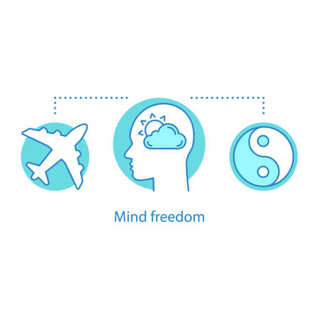 Mind freedom concept icon. Inner peace. Happiness idea thin line illustration. Calm. Vector isolated outline drawing Illustration