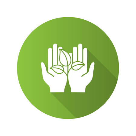 Greening flat design long shadow glyph icon. Environment protection. Open hand with sprout. Agriculture. Vector silhouette illustration