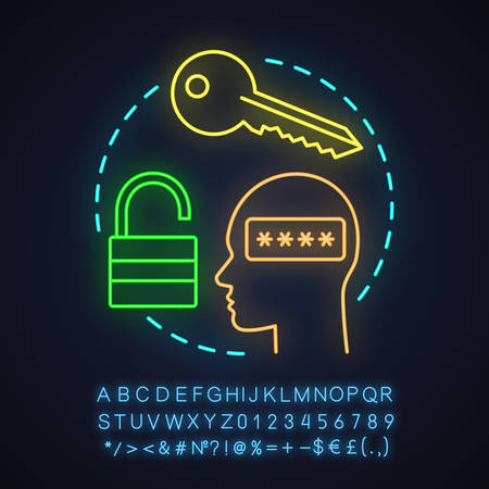 Users account neon light concept icon. Login idea. Authorization. Glowing sign with alphabet, numbers and symbols. Vector isolated illustration