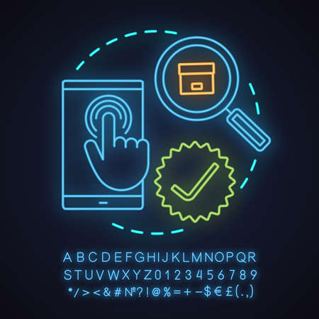 Select items neon light concept icon. Choosing goods or services idea. Parcel tracking. Glowing sign with alphabet, numbers and symbols. Vector isolated illustration