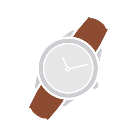 Wristwatch glyph color icon. Men's hand watches accessory. Classic wrist watch. Silhouette symbol on white background with no outline. Negative space. Vector illustration