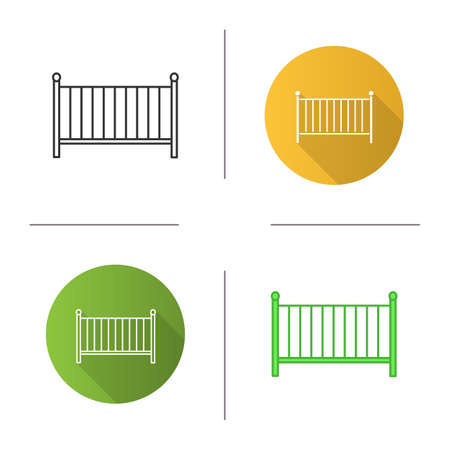 Crib icon. Cradle. Baby cot bed. Flat design, linear and color styles. Isolated vector illustrations