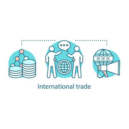 Icono del concepto de comercio internacional. Compras globales. Ilustración de línea fina de idea de relaciones internacionales. Distribución mundial. Dibujo de contorno aislado del vector