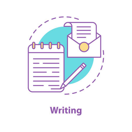 Writing concept icon. Taking notes, writing letter. Handwriting idea thin line illustration. Vector isolated outline drawing Ilustrace