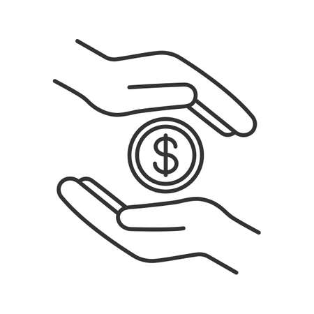 Charity linear icon. Donation. Islamic zakat. Helping hands. Thin line illustration. Alms-giving. Contour symbol. Vector isolated outline drawing Illustration