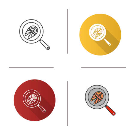 Fish steak frying on kitchen pan icon. Flat design, linear and color styles. Isolated vector illustrations