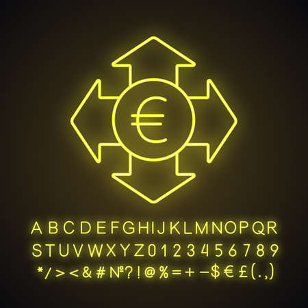 Money spending neon light icon. Expanses. Euro with all direction arrows. Glowing sign with alphabet, numbers and symbols. Vector isolated illustration