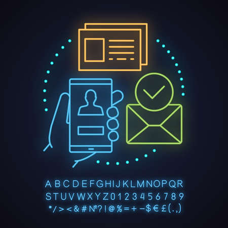 Konto, das Neonlicht-Konzeptsymbol erstellt. Idee der Benutzerregistrierung. Genehmigung. Leuchtendes Zeichen mit Alphabet, Zahlen und Symbolen. Vektor isolierte Illustration Vektorgrafik