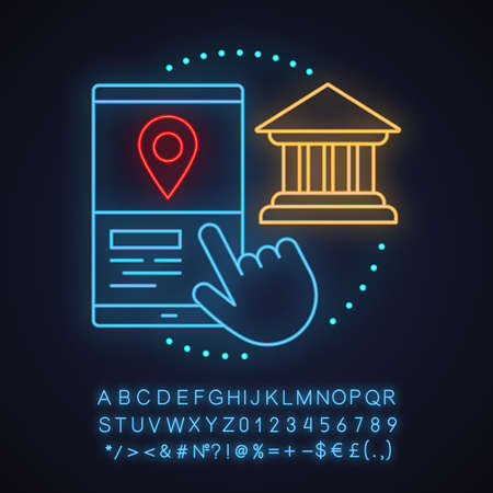Bank or museum location neon light concept icon. Carpooling service idea. Choosing start destination. Glowing sign with alphabet, numbers and symbols. Vector isolated illustration