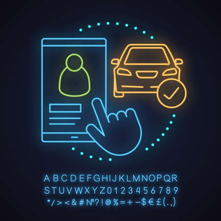 Taxi driver choosing neon light concept icon. Taxi ordering idea. Carpooling. Glowing sign with alphabet, numbers and symbols. Vector isolated illustration 向量圖像