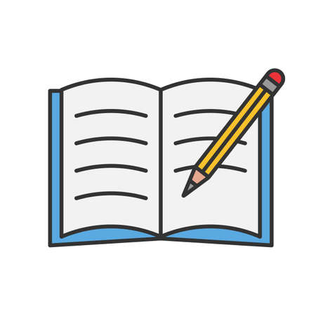 Copybook with pencil color icon. Taking notes. Notepad. Isolated vector illustration