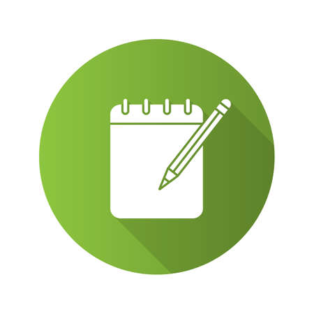 Notepad with pencil flat linear long shadow icon. Taking notes. Vector outline symbol